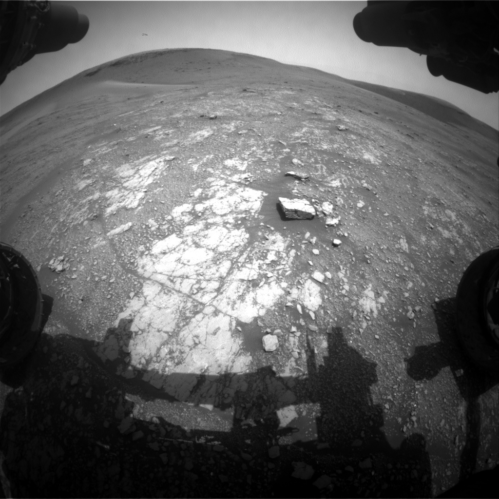 Nasa's Mars rover Curiosity acquired this image using its Front Hazard Avoidance Camera (Front Hazcam) on Sol 2355, at drive 456, site number 75