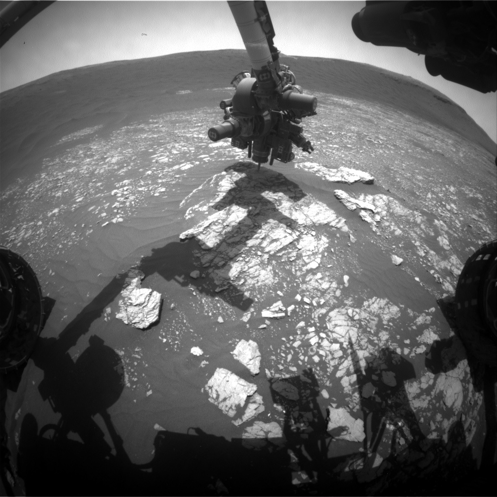 Nasa's Mars rover Curiosity acquired this image using its Front Hazard Avoidance Camera (Front Hazcam) on Sol 2368, at drive 1386, site number 75