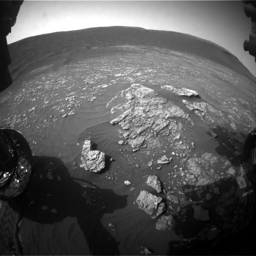 Nasa's Mars rover Curiosity acquired this image using its Front Hazard Avoidance Camera (Front Hazcam) on Sol 2369, at drive 1386, site number 75