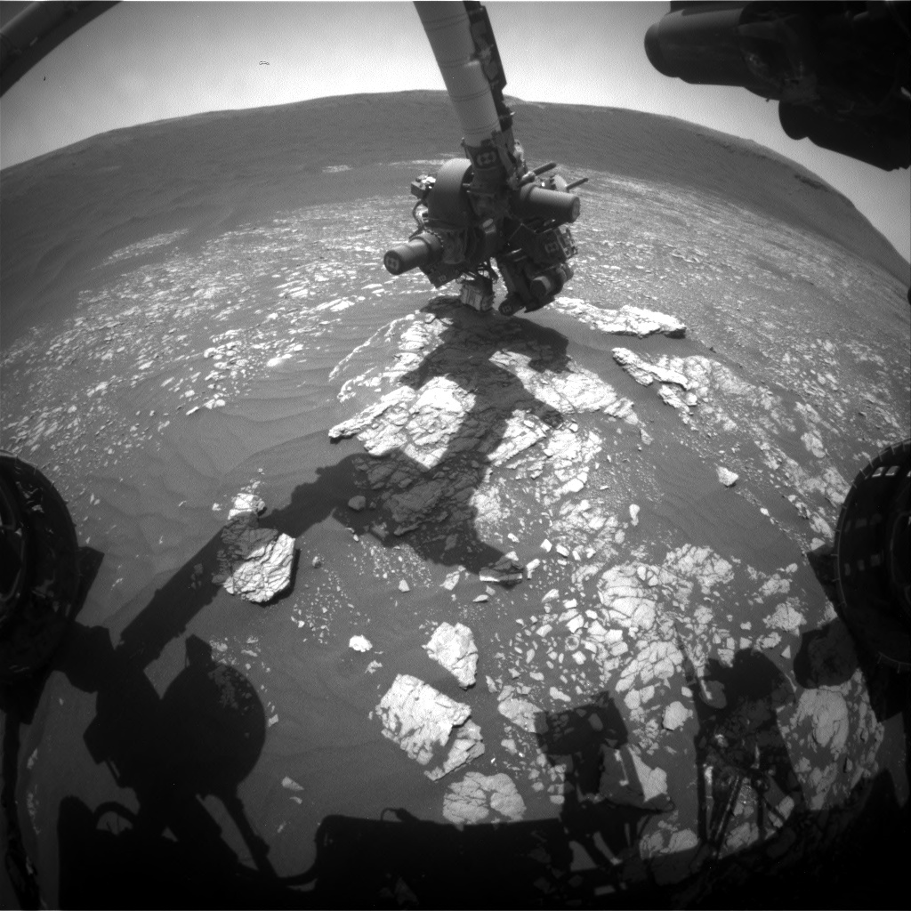 Nasa's Mars rover Curiosity acquired this image using its Front Hazard Avoidance Camera (Front Hazcam) on Sol 2381, at drive 1386, site number 75