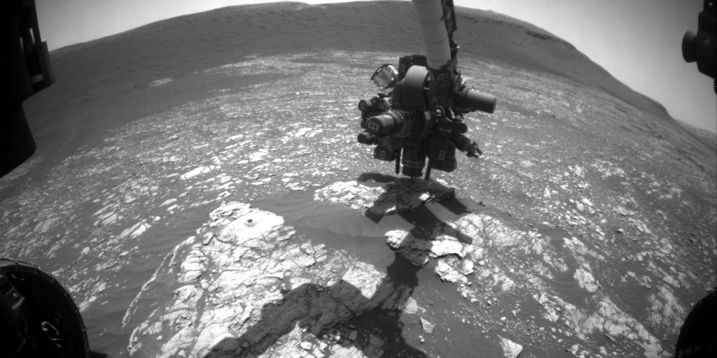 Nasa's Mars rover Curiosity acquired this image using its Front Hazard Avoidance Camera (Front Hazcam) on Sol 2384, at drive 1398, site number 75