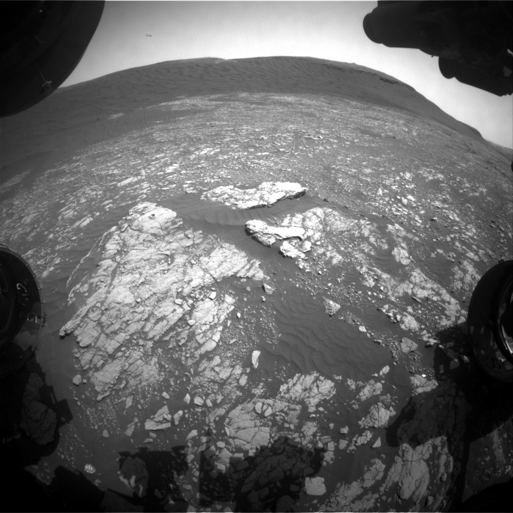 Nasa's Mars rover Curiosity acquired this image using its Front Hazard Avoidance Camera (Front Hazcam) on Sol 2387, at drive 1398, site number 75