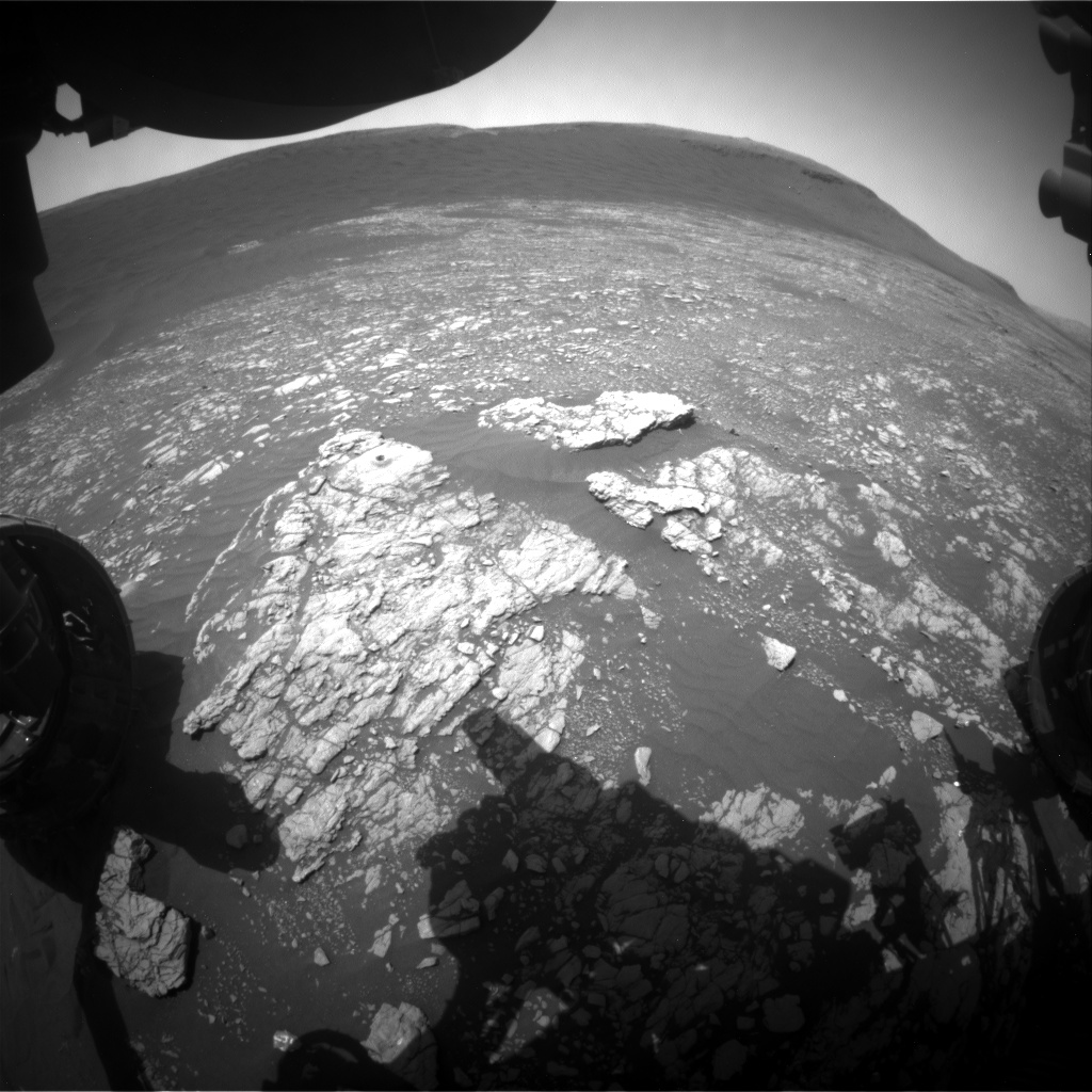 Nasa's Mars rover Curiosity acquired this image using its Front Hazard Avoidance Camera (Front Hazcam) on Sol 2389, at drive 1398, site number 75
