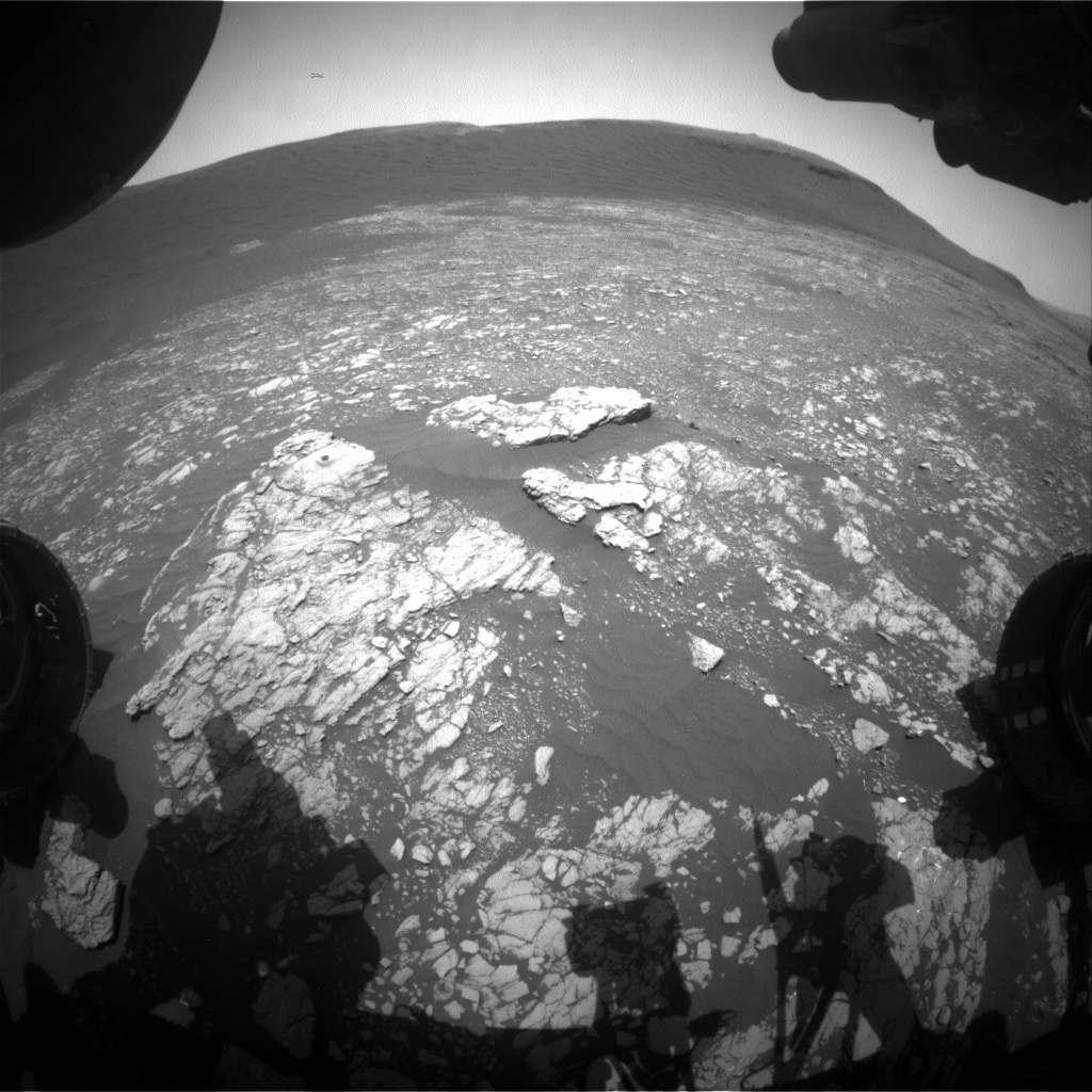 Nasa's Mars rover Curiosity acquired this image using its Front Hazard Avoidance Camera (Front Hazcam) on Sol 2390, at drive 1398, site number 75