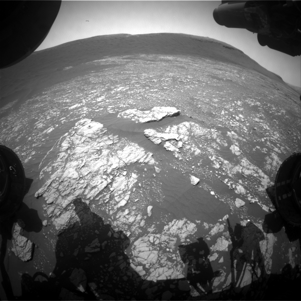 Nasa's Mars rover Curiosity acquired this image using its Front Hazard Avoidance Camera (Front Hazcam) on Sol 2394, at drive 1398, site number 75