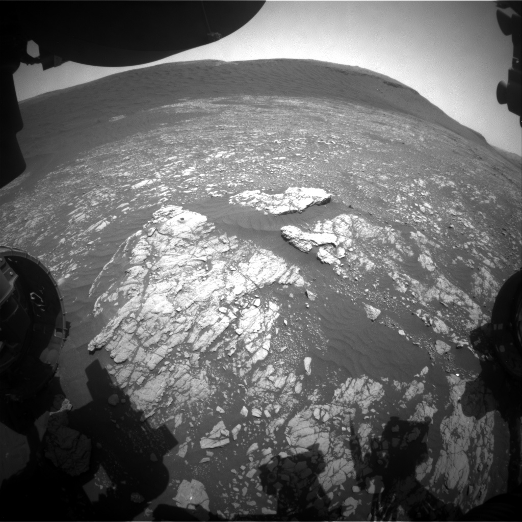 Nasa's Mars rover Curiosity acquired this image using its Front Hazard Avoidance Camera (Front Hazcam) on Sol 2395, at drive 1398, site number 75