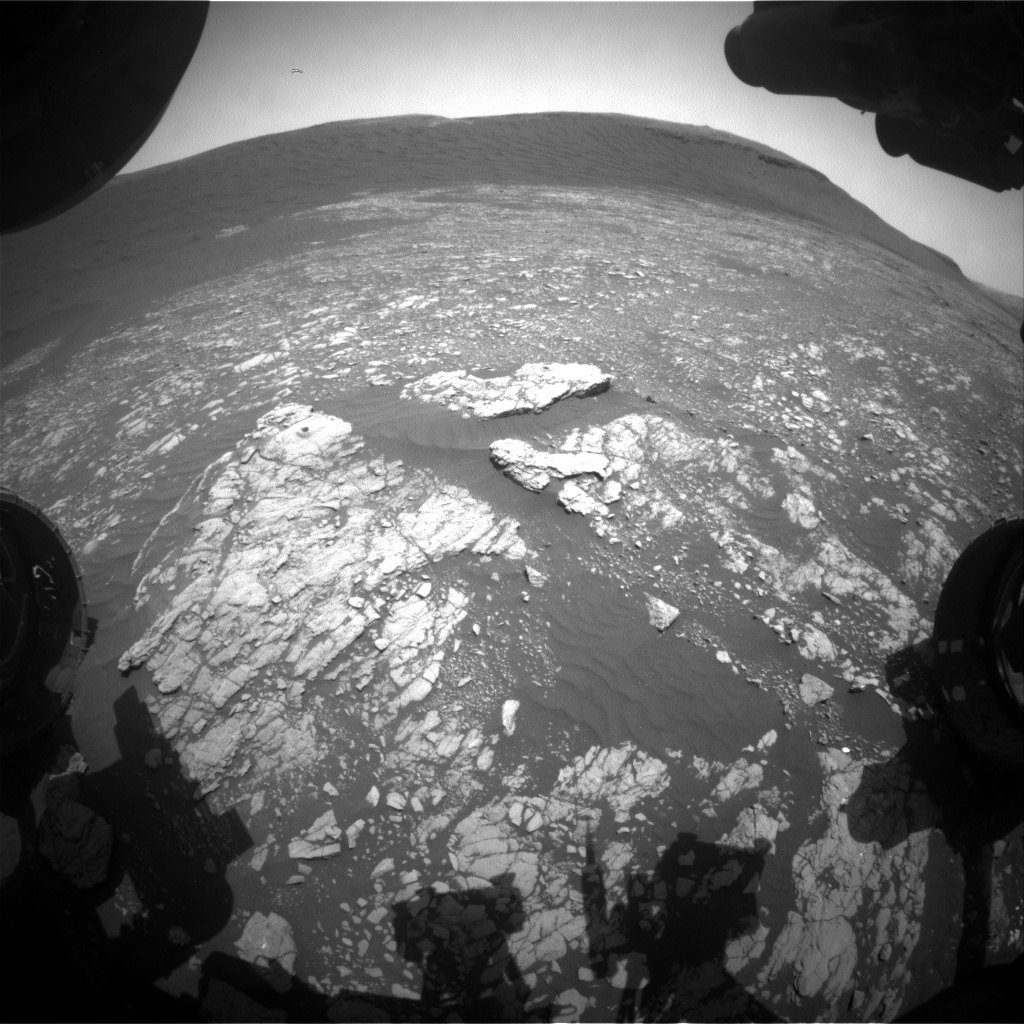 NASA's Mars rover Curiosity acquired this image using its Front Hazard Avoidance Cameras (Front Hazcams) on Sol 2395