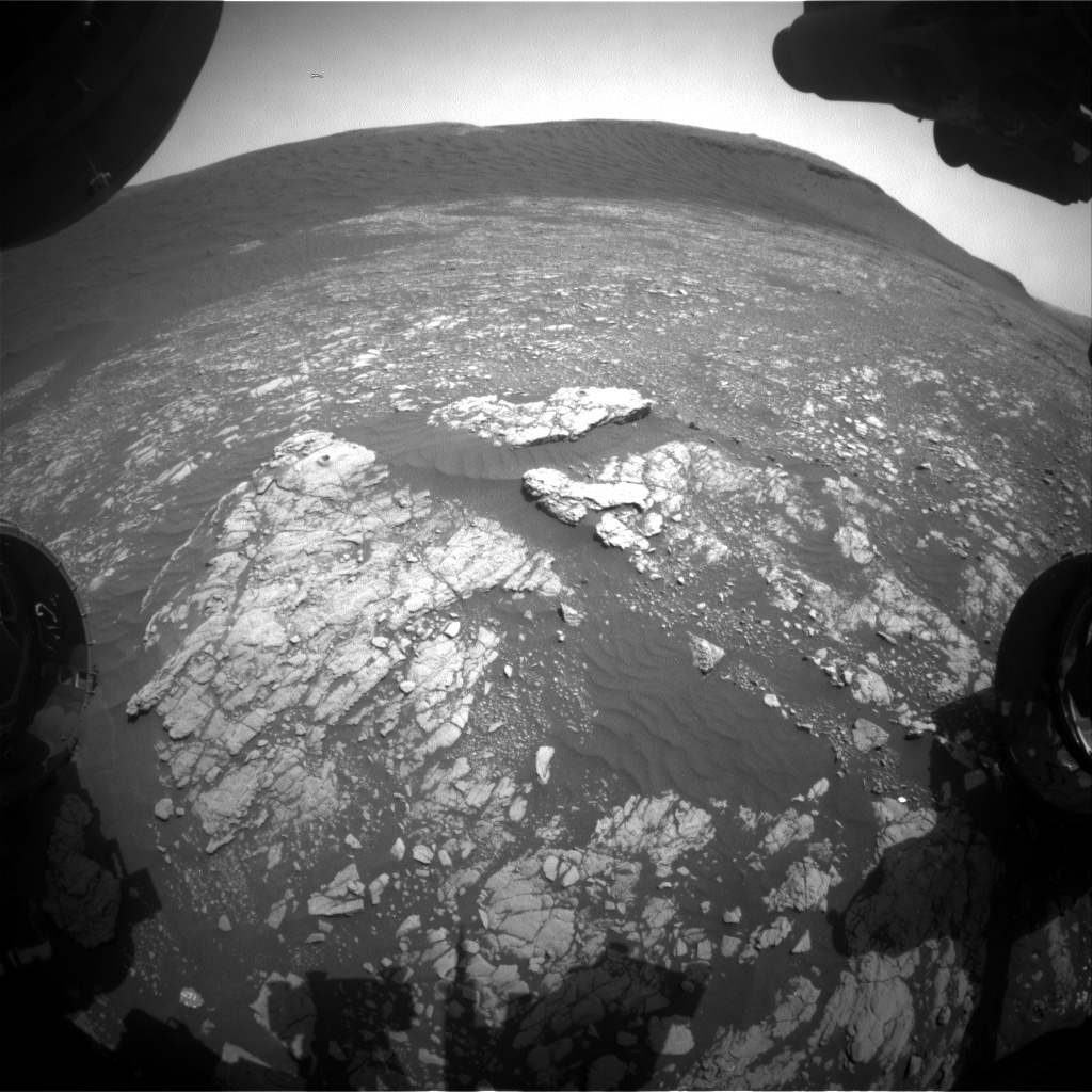 Nasa's Mars rover Curiosity acquired this image using its Front Hazard Avoidance Camera (Front Hazcam) on Sol 2396, at drive 1398, site number 75