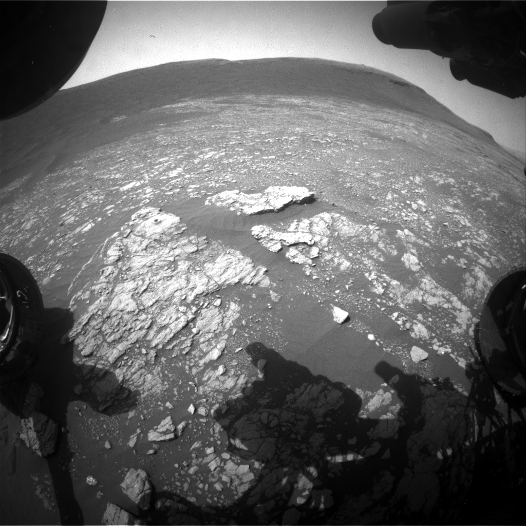 Nasa's Mars rover Curiosity acquired this image using its Front Hazard Avoidance Camera (Front Hazcam) on Sol 2401, at drive 1398, site number 75