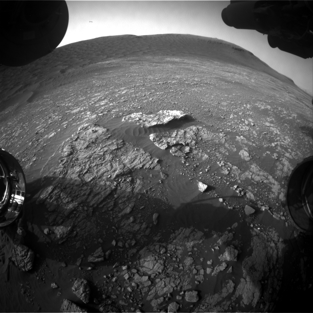 Nasa's Mars rover Curiosity acquired this image using its Front Hazard Avoidance Camera (Front Hazcam) on Sol 2402, at drive 1398, site number 75