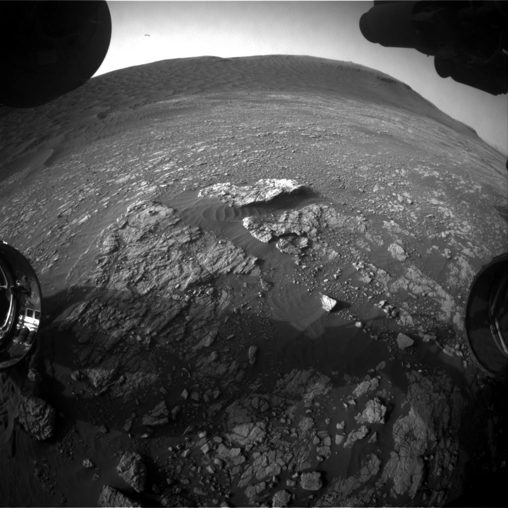 Nasa's Mars rover Curiosity acquired this image using its Front Hazard Avoidance Camera (Front Hazcam) on Sol 2404, at drive 1398, site number 75