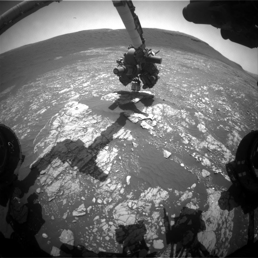 Nasa's Mars rover Curiosity acquired this image using its Front Hazard Avoidance Camera (Front Hazcam) on Sol 2405, at drive 1398, site number 75