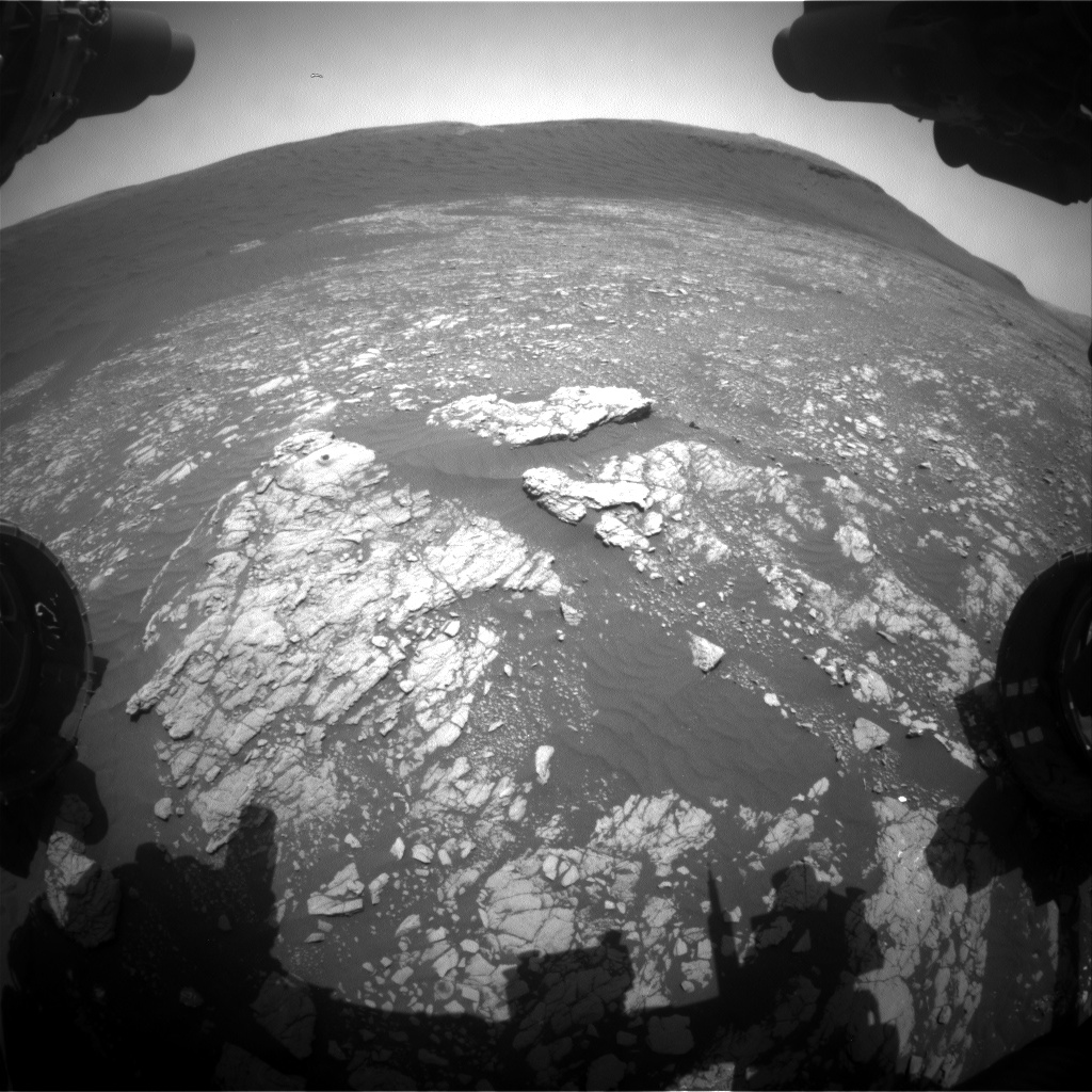 Nasa's Mars rover Curiosity acquired this image using its Front Hazard Avoidance Camera (Front Hazcam) on Sol 2406, at drive 1398, site number 75