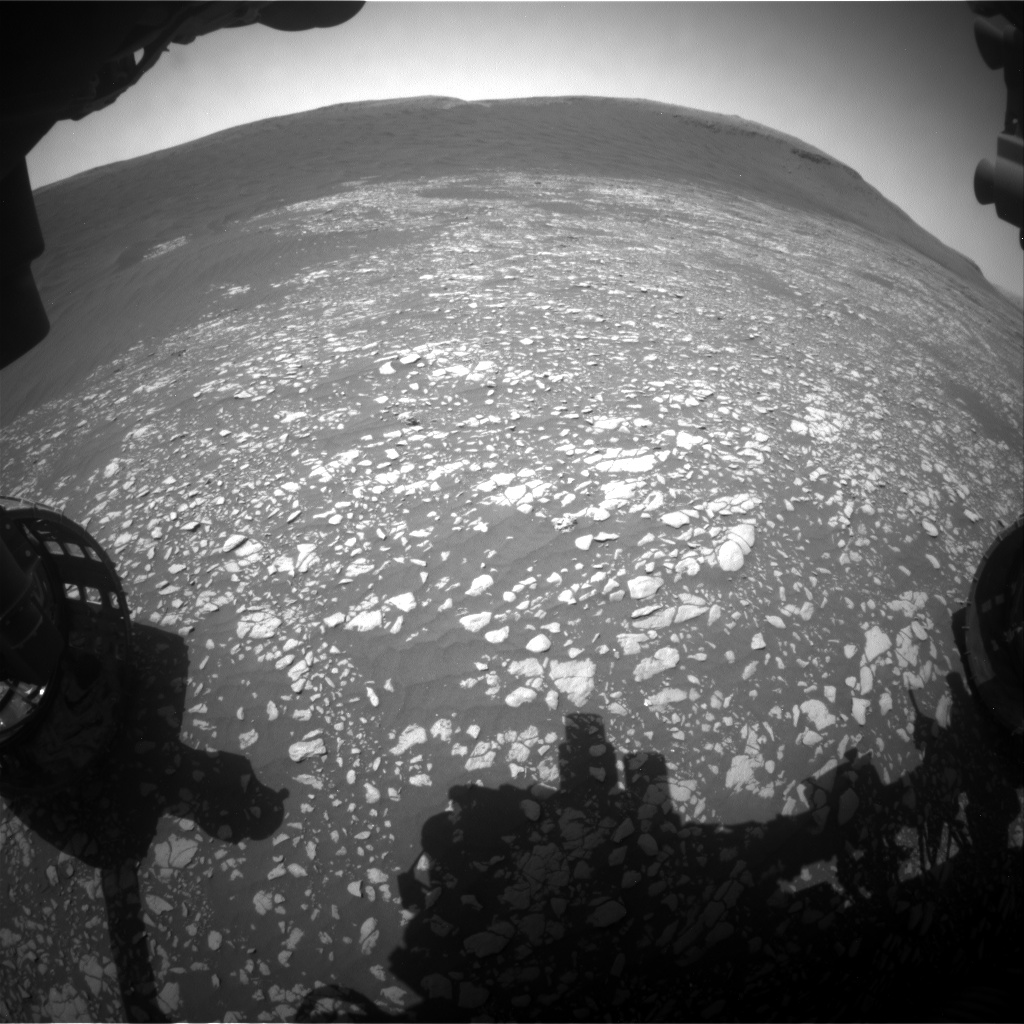 Nasa's Mars rover Curiosity acquired this image using its Front Hazard Avoidance Camera (Front Hazcam) on Sol 2407, at drive 1450, site number 75