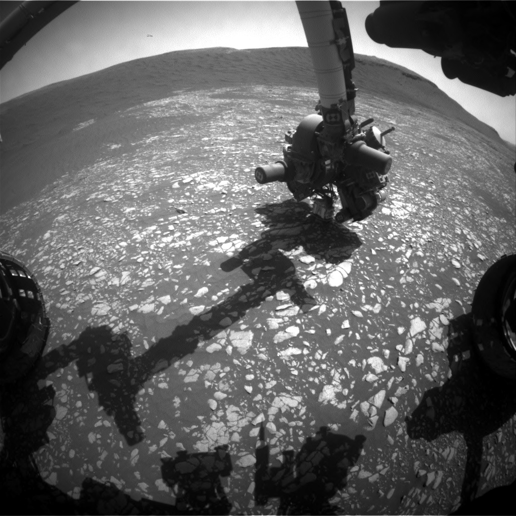 Nasa's Mars rover Curiosity acquired this image using its Front Hazard Avoidance Camera (Front Hazcam) on Sol 2408, at drive 1450, site number 75