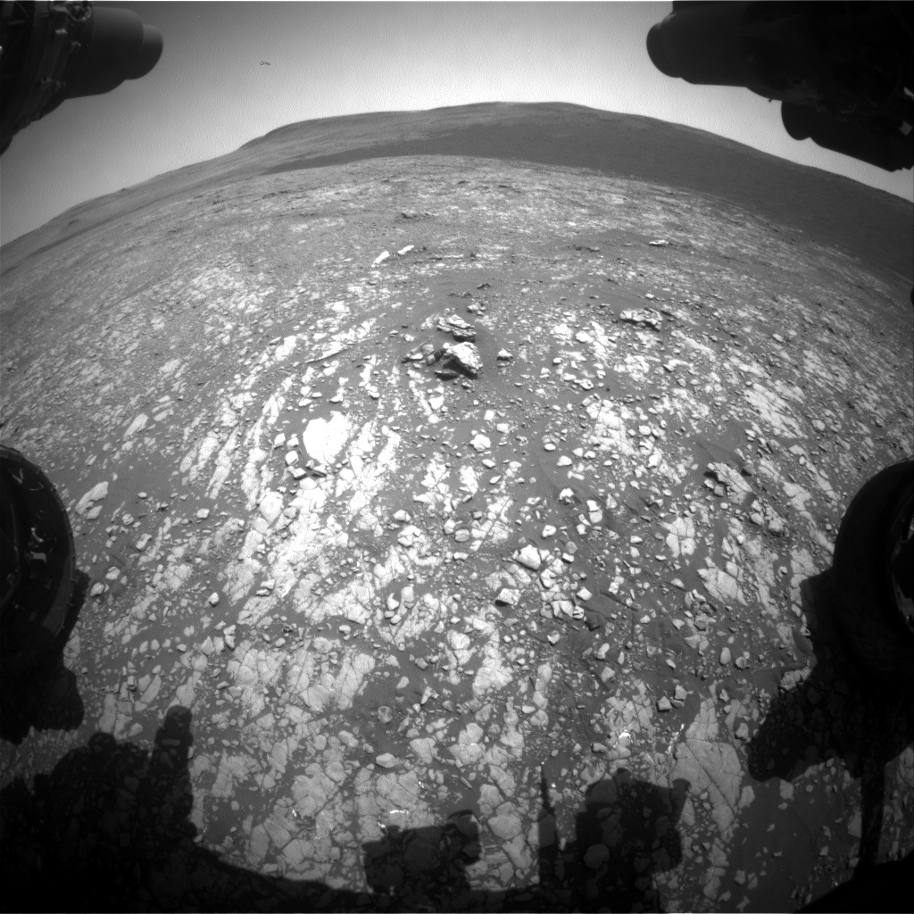 Nasa's Mars rover Curiosity acquired this image using its Front Hazard Avoidance Camera (Front Hazcam) on Sol 2413, at drive 2004, site number 75