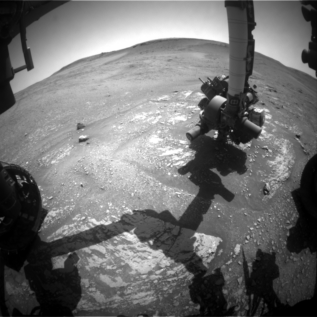 Nasa's Mars rover Curiosity acquired this image using its Front Hazard Avoidance Camera (Front Hazcam) on Sol 2422, at drive 2770, site number 75