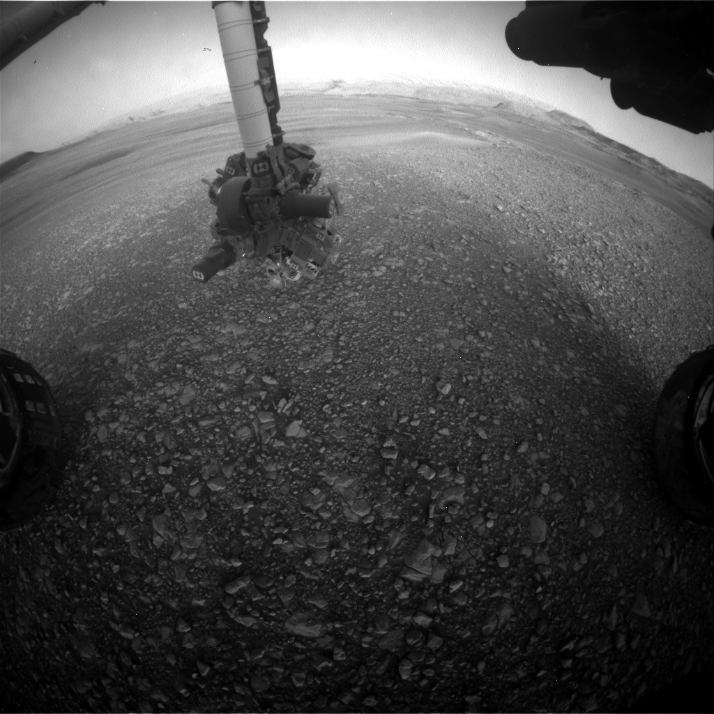 Nasa's Mars rover Curiosity acquired this image using its Front Hazard Avoidance Camera (Front Hazcam) on Sol 2431, at drive 0, site number 76