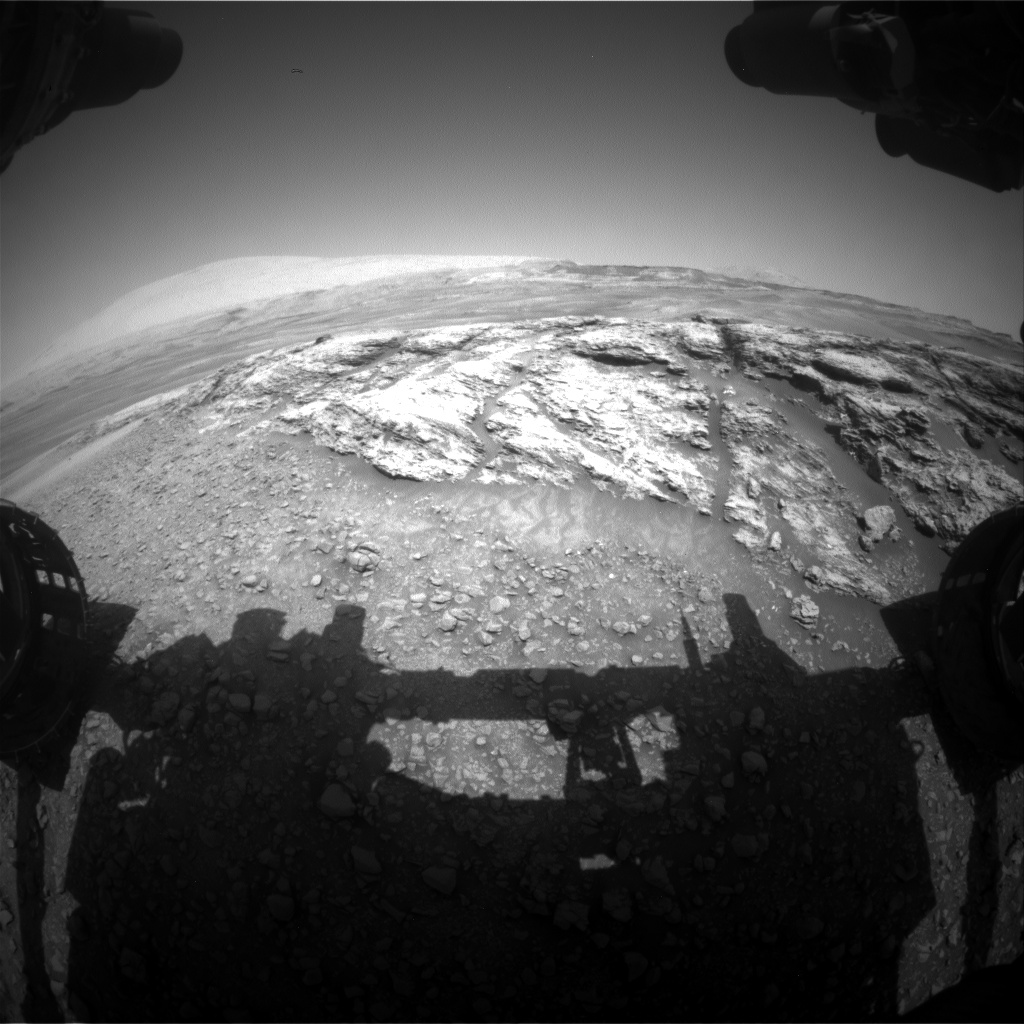 Nasa's Mars rover Curiosity acquired this image using its Front Hazard Avoidance Camera (Front Hazcam) on Sol 2439, at drive 988, site number 76