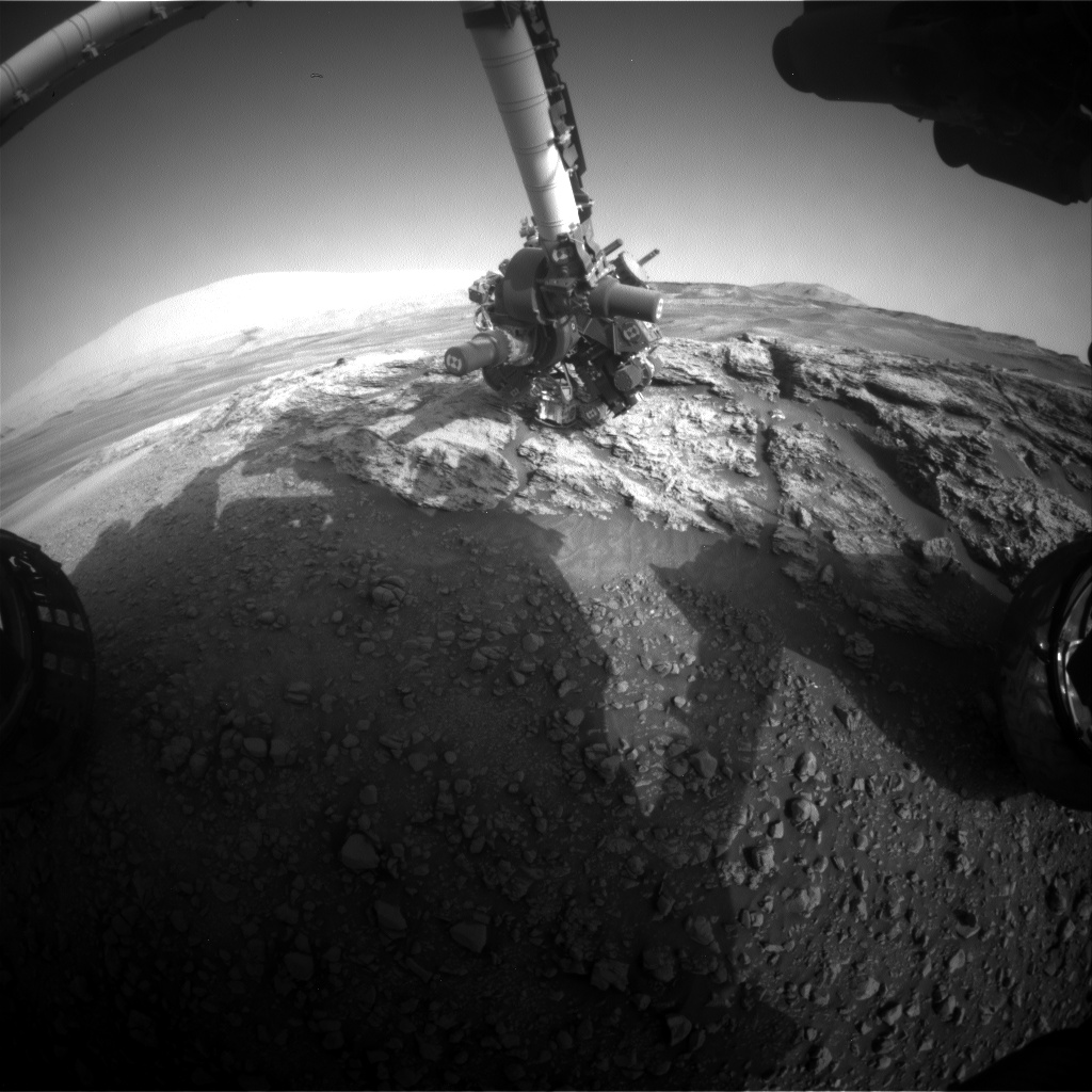 Nasa's Mars rover Curiosity acquired this image using its Front Hazard Avoidance Camera (Front Hazcam) on Sol 2442, at drive 988, site number 76