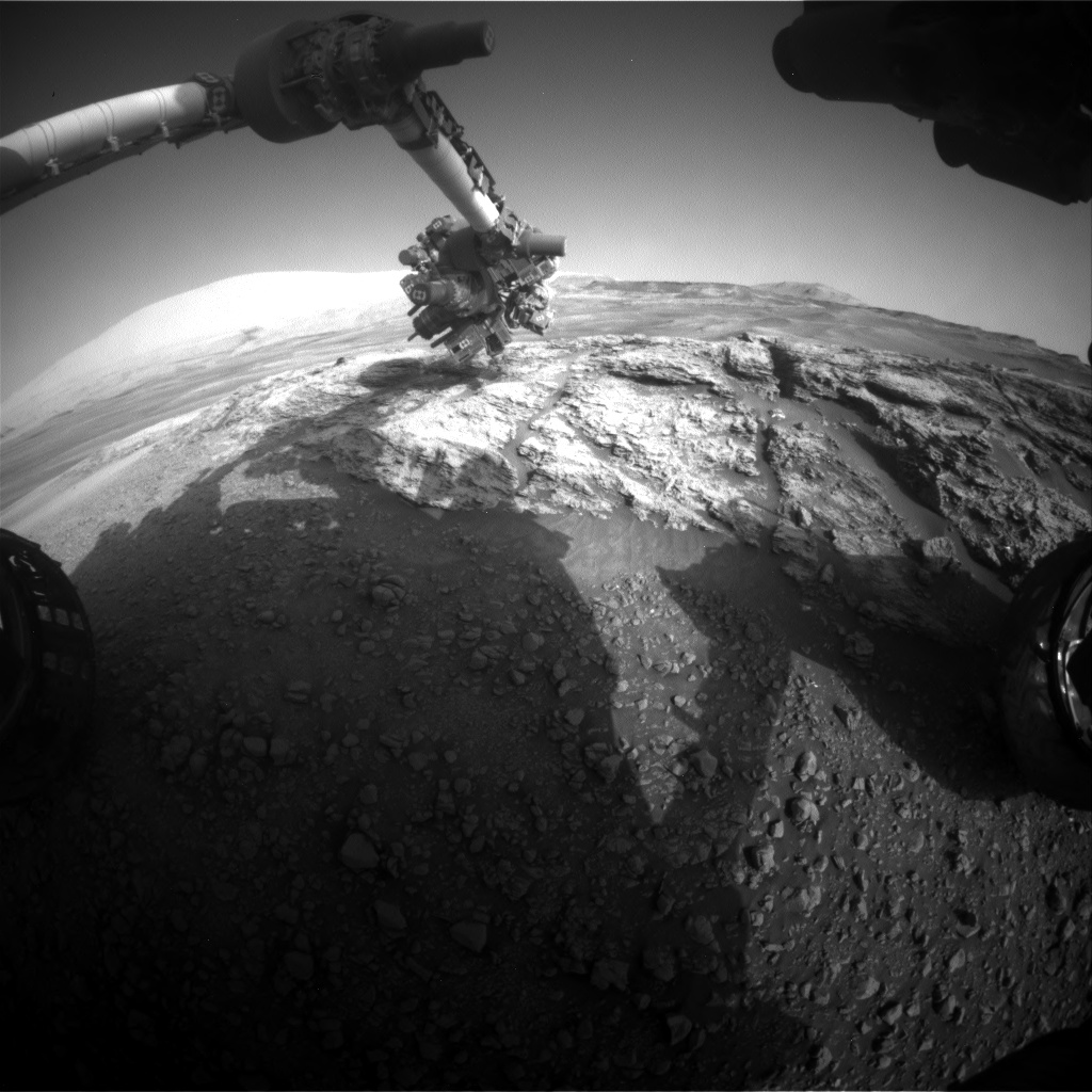 Nasa's Mars rover Curiosity acquired this image using its Front Hazard Avoidance Camera (Front Hazcam) on Sol 2443, at drive 988, site number 76