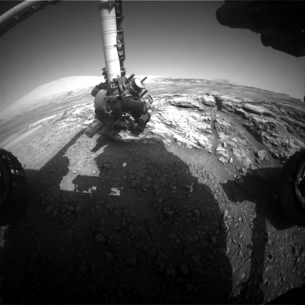 Nasa's Mars rover Curiosity acquired this image using its Front Hazard Avoidance Camera (Front Hazcam) on Sol 2445, at drive 988, site number 76