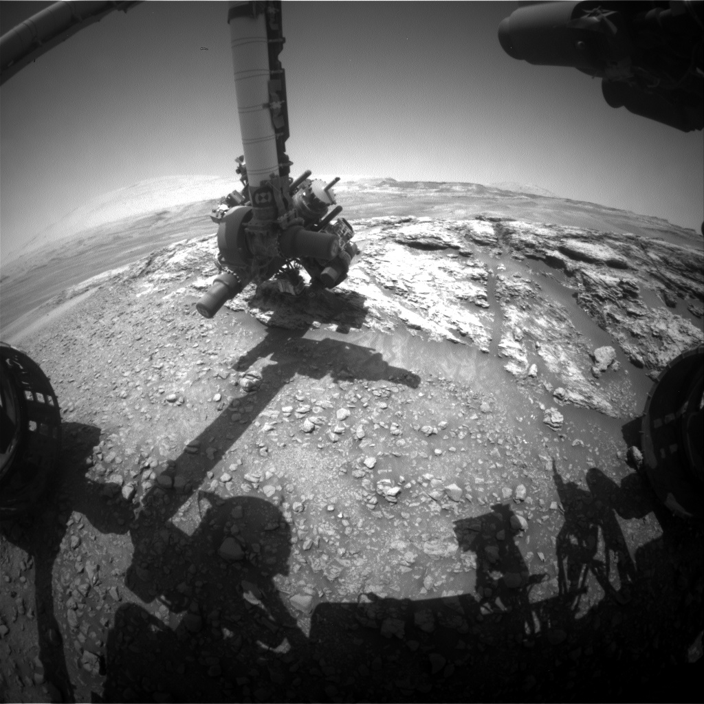 Nasa's Mars rover Curiosity acquired this image using its Front Hazard Avoidance Camera (Front Hazcam) on Sol 2446, at drive 988, site number 76