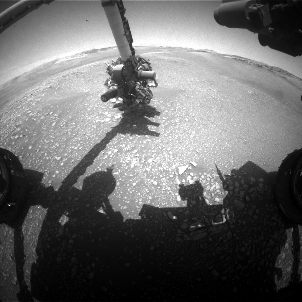 Nasa's Mars rover Curiosity acquired this image using its Front Hazard Avoidance Camera (Front Hazcam) on Sol 2449, at drive 1300, site number 76