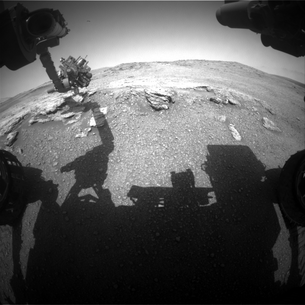 Nasa's Mars rover Curiosity acquired this image using its Front Hazard Avoidance Camera (Front Hazcam) on Sol 2451, at drive 1384, site number 76
