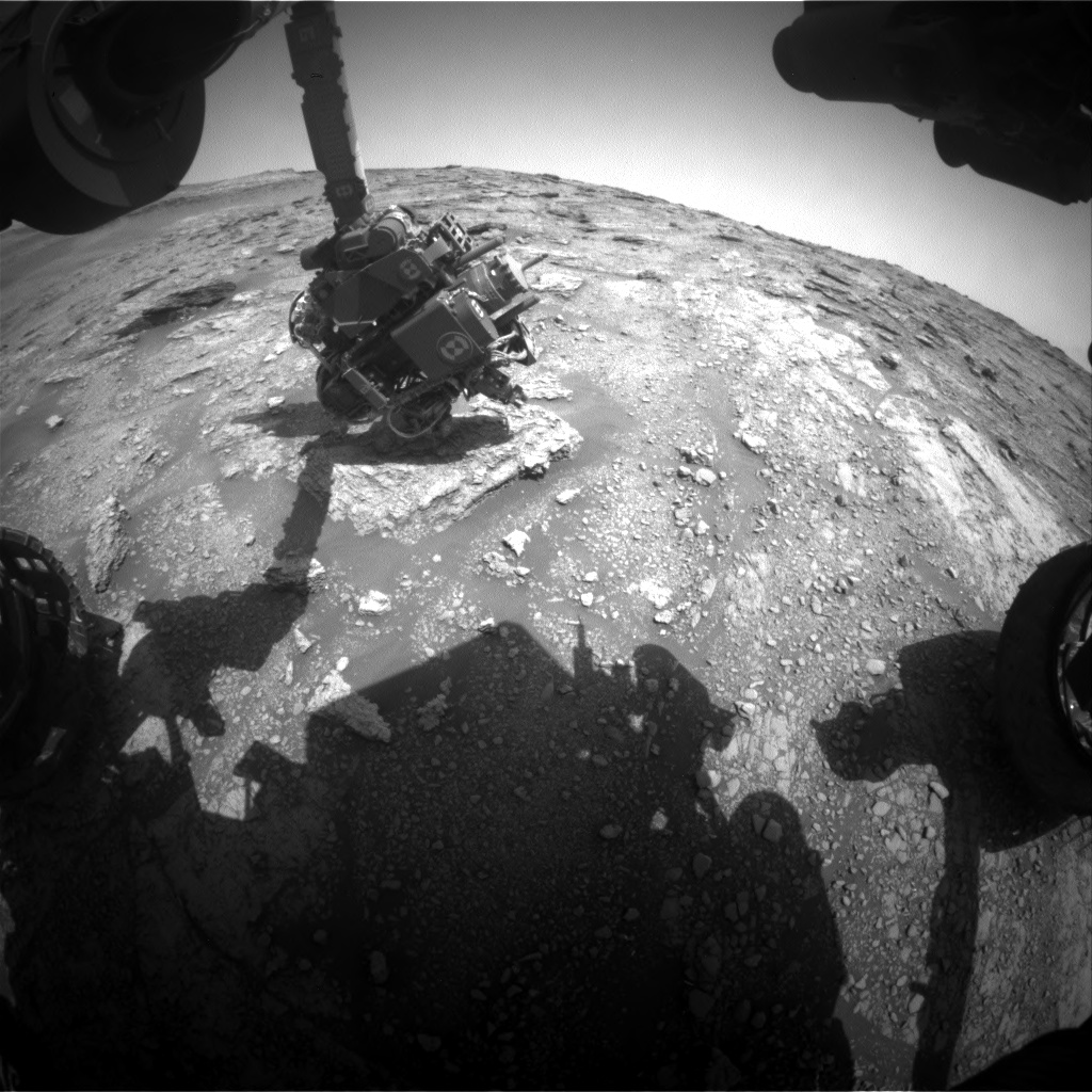 Nasa's Mars rover Curiosity acquired this image using its Front Hazard Avoidance Camera (Front Hazcam) on Sol 2454, at drive 1576, site number 76