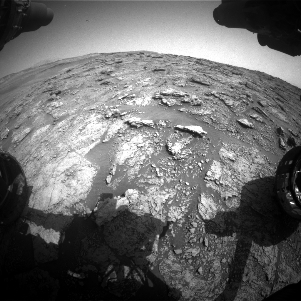 Nasa's Mars rover Curiosity acquired this image using its Front Hazard Avoidance Camera (Front Hazcam) on Sol 2454, at drive 1666, site number 76