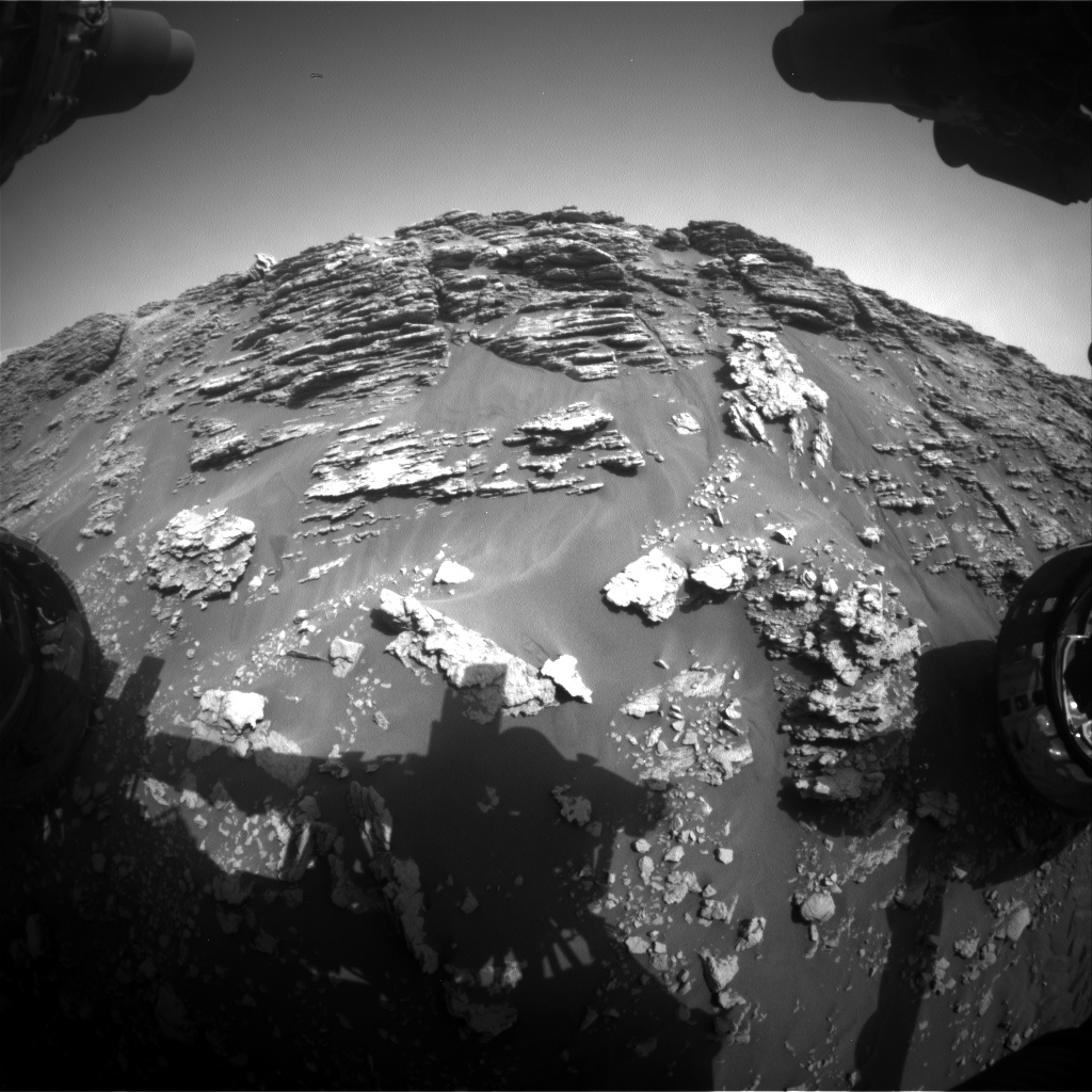 Nasa's Mars rover Curiosity acquired this image using its Front Hazard Avoidance Camera (Front Hazcam) on Sol 2476, at drive 2672, site number 76