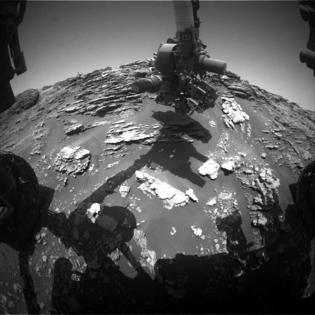 Nasa's Mars rover Curiosity acquired this image using its Front Hazard Avoidance Camera (Front Hazcam) on Sol 2477, at drive 2672, site number 76