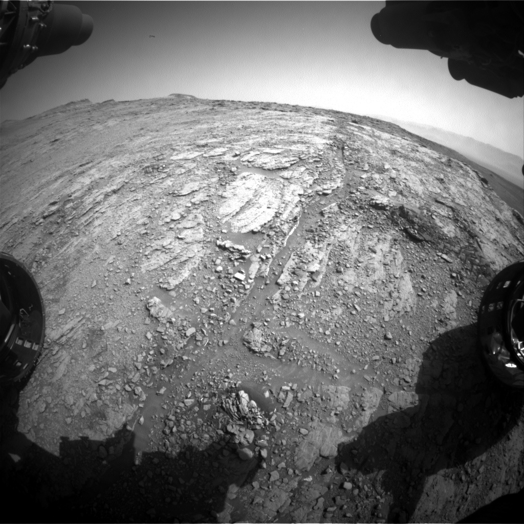 Nasa's Mars rover Curiosity acquired this image using its Front Hazard Avoidance Camera (Front Hazcam) on Sol 2481, at drive 3002, site number 76