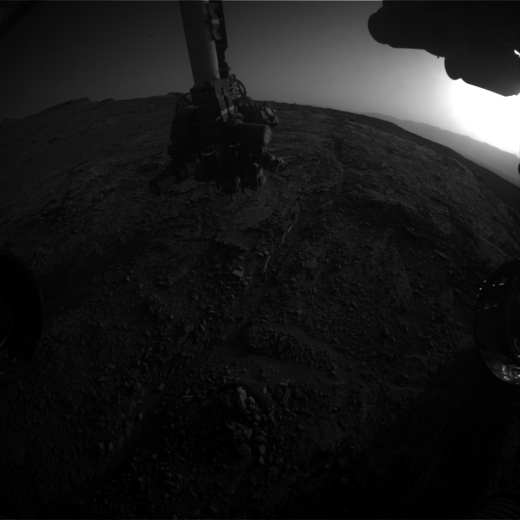 Nasa's Mars rover Curiosity acquired this image using its Front Hazard Avoidance Camera (Front Hazcam) on Sol 2482, at drive 3002, site number 76