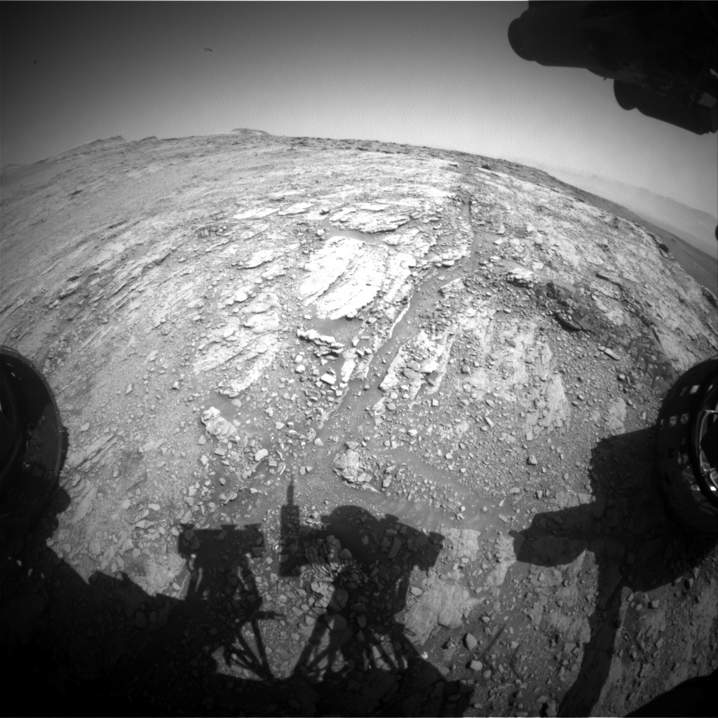 Nasa's Mars rover Curiosity acquired this image using its Front Hazard Avoidance Camera (Front Hazcam) on Sol 2483, at drive 3002, site number 76