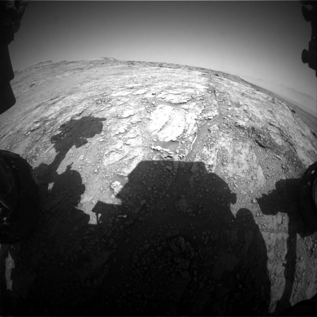 Nasa's Mars rover Curiosity acquired this image using its Front Hazard Avoidance Camera (Front Hazcam) on Sol 2485, at drive 3002, site number 76