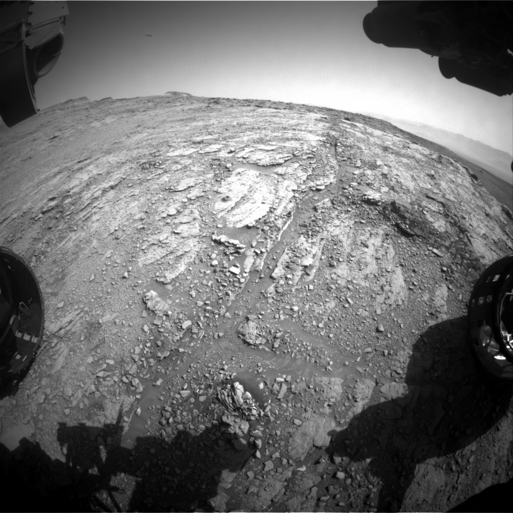 Nasa's Mars rover Curiosity acquired this image using its Front Hazard Avoidance Camera (Front Hazcam) on Sol 2489, at drive 3002, site number 76