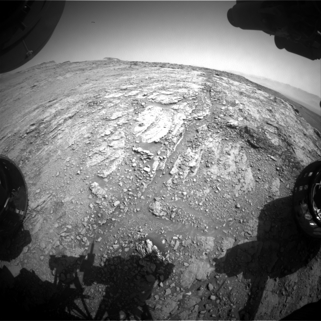 Nasa's Mars rover Curiosity acquired this image using its Front Hazard Avoidance Camera (Front Hazcam) on Sol 2491, at drive 3002, site number 76