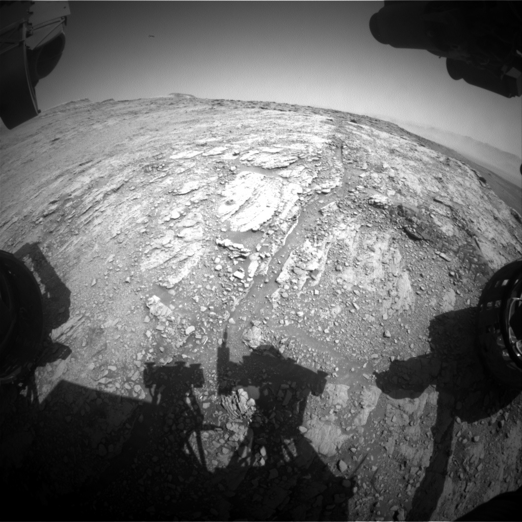 Nasa's Mars rover Curiosity acquired this image using its Front Hazard Avoidance Camera (Front Hazcam) on Sol 2493, at drive 3002, site number 76
