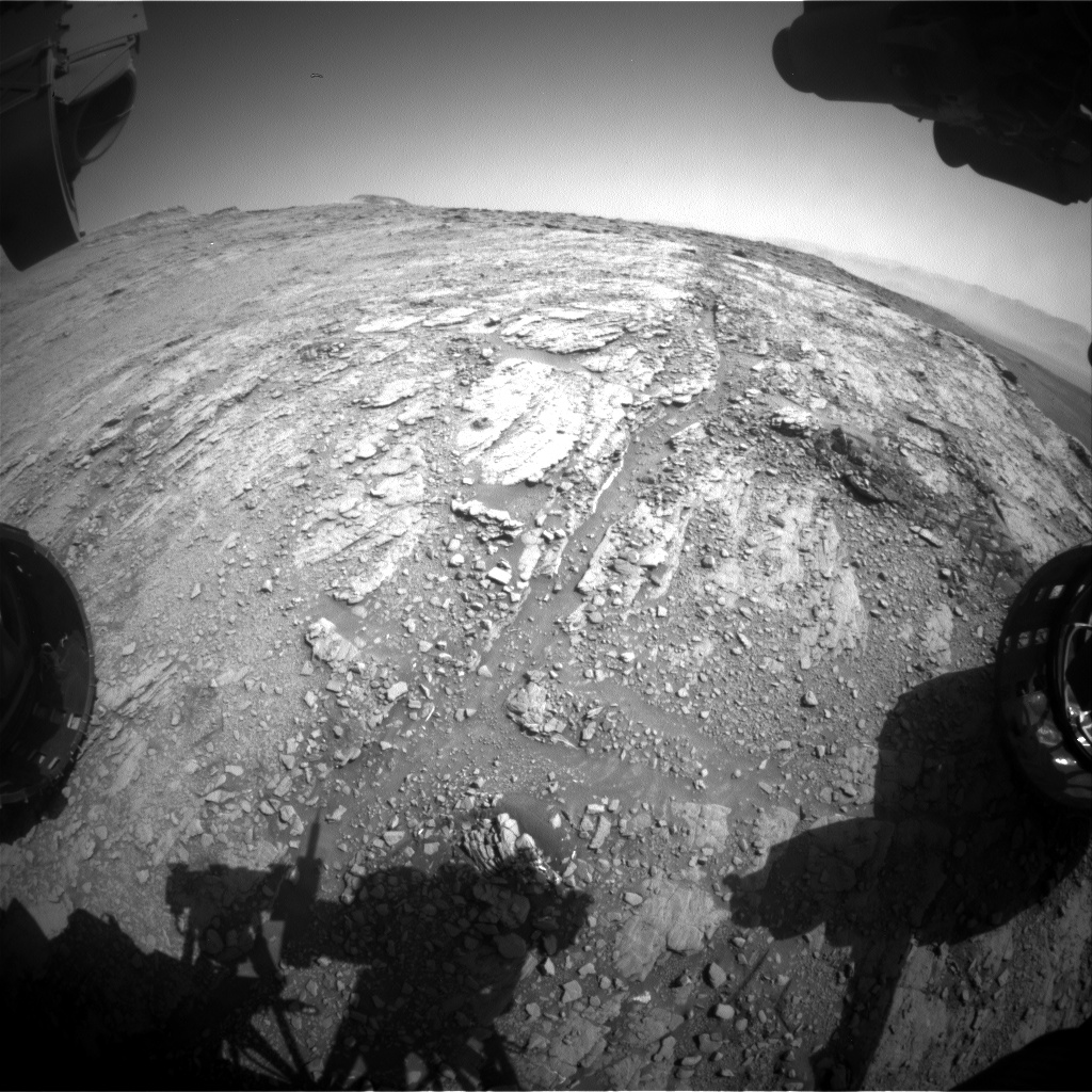 Nasa's Mars rover Curiosity acquired this image using its Front Hazard Avoidance Camera (Front Hazcam) on Sol 2494, at drive 3002, site number 76