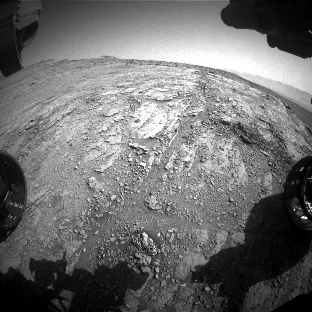 Nasa's Mars rover Curiosity acquired this image using its Front Hazard Avoidance Camera (Front Hazcam) on Sol 2495, at drive 3002, site number 76