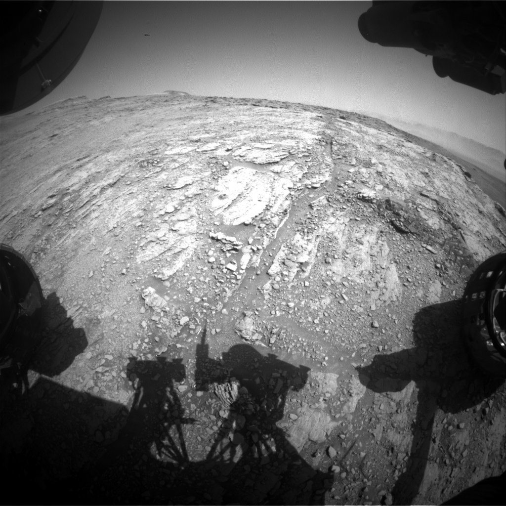 Nasa's Mars rover Curiosity acquired this image using its Front Hazard Avoidance Camera (Front Hazcam) on Sol 2503, at drive 3002, site number 76