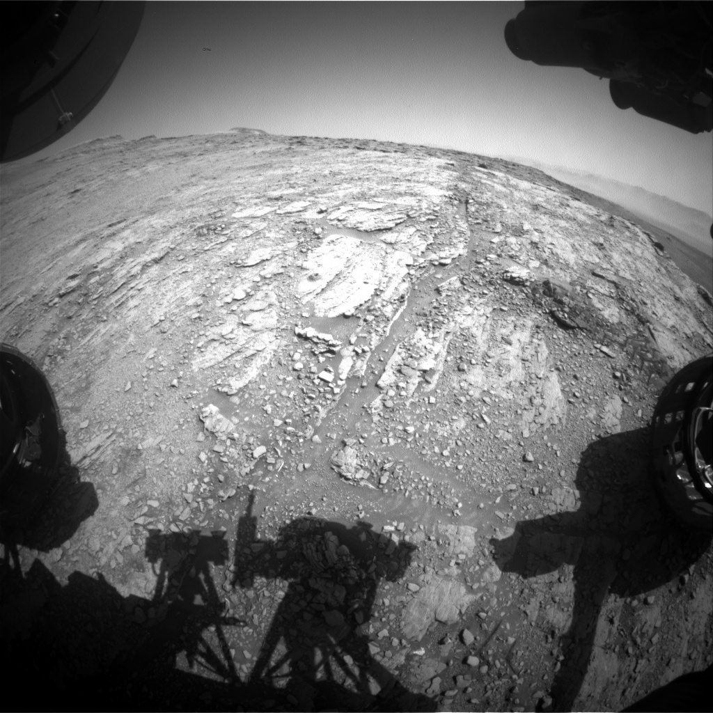 Nasa's Mars rover Curiosity acquired this image using its Front Hazard Avoidance Camera (Front Hazcam) on Sol 2504, at drive 3002, site number 76