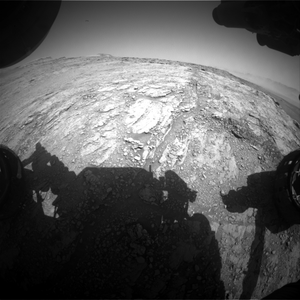 Nasa's Mars rover Curiosity acquired this image using its Front Hazard Avoidance Camera (Front Hazcam) on Sol 2505, at drive 3002, site number 76
