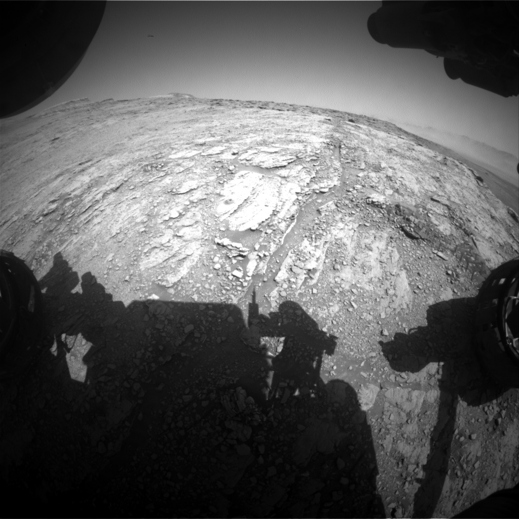 Nasa's Mars rover Curiosity acquired this image using its Front Hazard Avoidance Camera (Front Hazcam) on Sol 2508, at drive 3002, site number 76