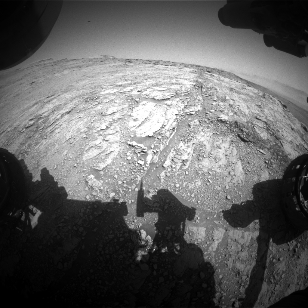 Nasa's Mars rover Curiosity acquired this image using its Front Hazard Avoidance Camera (Front Hazcam) on Sol 2509, at drive 3002, site number 76