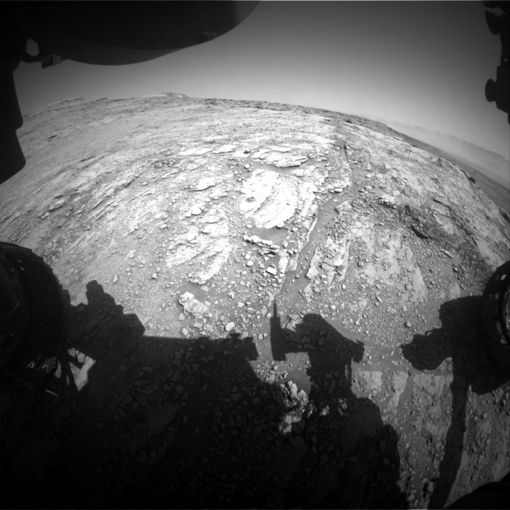Nasa's Mars rover Curiosity acquired this image using its Front Hazard Avoidance Camera (Front Hazcam) on Sol 2512, at drive 3002, site number 76