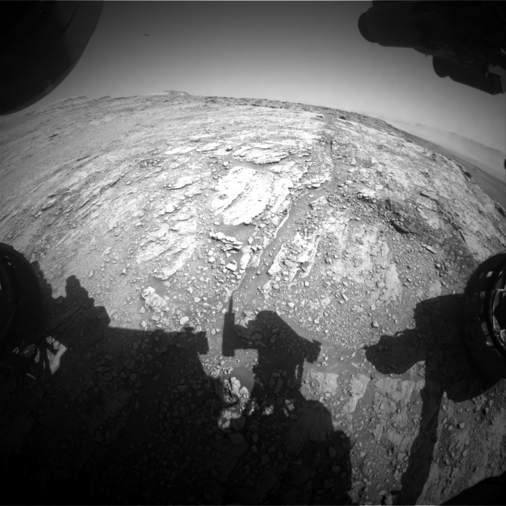 Nasa's Mars rover Curiosity acquired this image using its Front Hazard Avoidance Camera (Front Hazcam) on Sol 2513, at drive 3002, site number 76