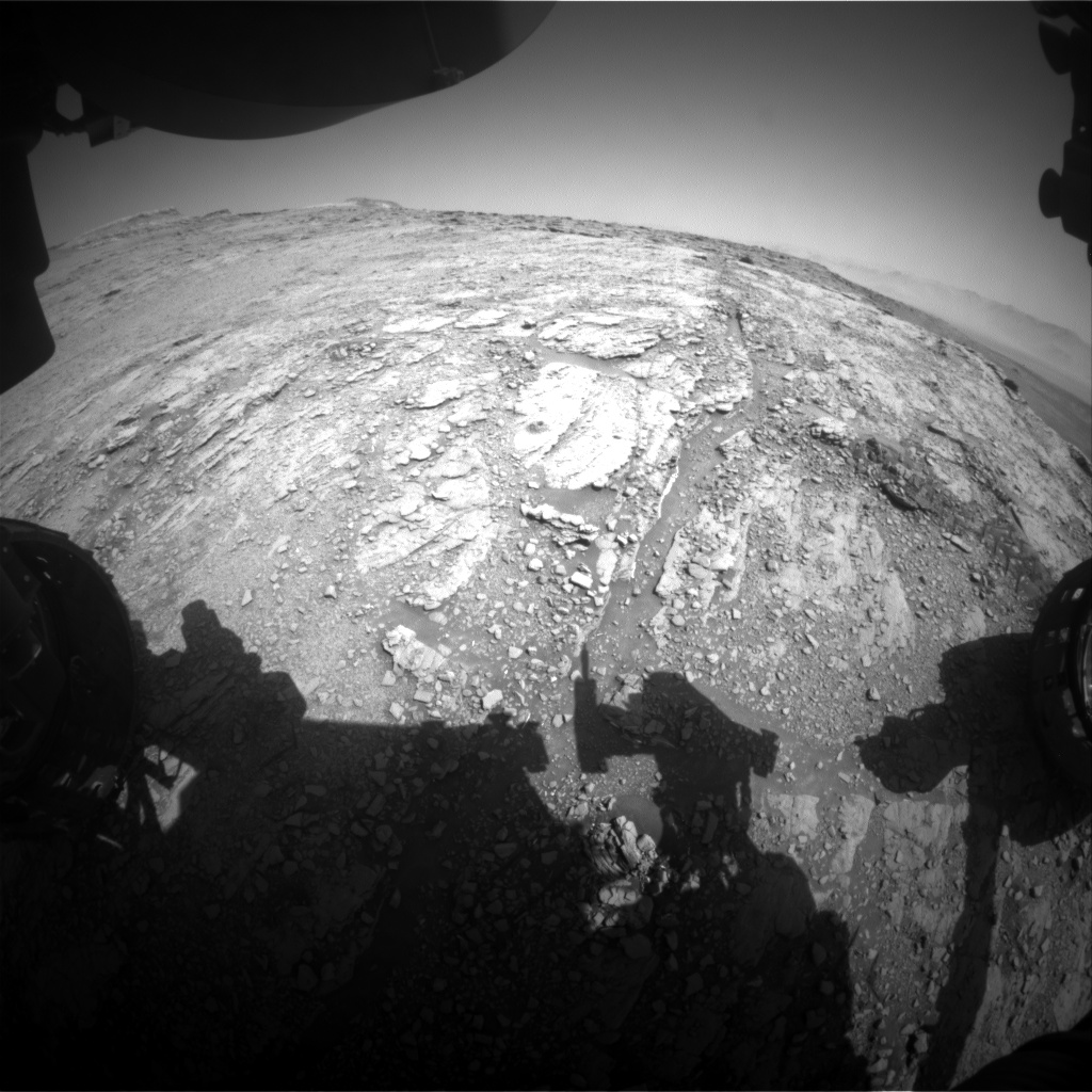 Nasa's Mars rover Curiosity acquired this image using its Front Hazard Avoidance Camera (Front Hazcam) on Sol 2517, at drive 3002, site number 76